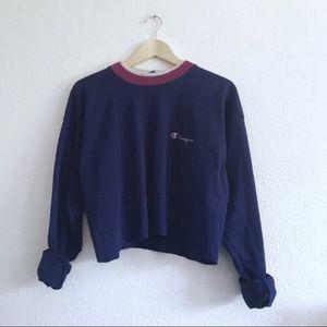 Champion cropped blue purple magenta sweater